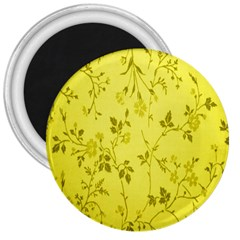 Flowery Yellow Fabric 3  Magnets
