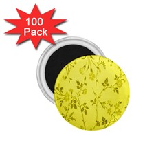Flowery Yellow Fabric 1 75  Magnets (100 Pack)  by Nexatart