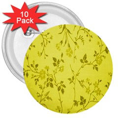 Flowery Yellow Fabric 3  Buttons (10 Pack)  by Nexatart
