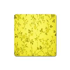 Flowery Yellow Fabric Square Magnet