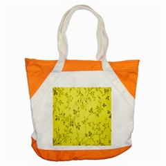 Flowery Yellow Fabric Accent Tote Bag by Nexatart