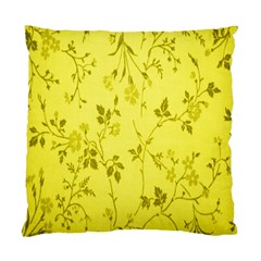 Flowery Yellow Fabric Standard Cushion Case (two Sides)