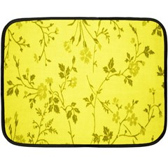 Flowery Yellow Fabric Double Sided Fleece Blanket (mini)