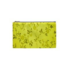 Flowery Yellow Fabric Cosmetic Bag (small)  by Nexatart
