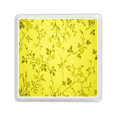 Flowery Yellow Fabric Memory Card Reader (square)  by Nexatart
