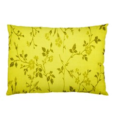 Flowery Yellow Fabric Pillow Case (two Sides) by Nexatart