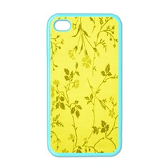 Flowery Yellow Fabric Apple Iphone 4 Case (color)