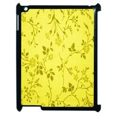 Flowery Yellow Fabric Apple Ipad 2 Case (black) by Nexatart