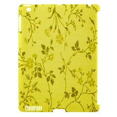 Flowery Yellow Fabric Apple Ipad 3/4 Hardshell Case (compatible With Smart Cover) by Nexatart