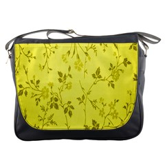 Flowery Yellow Fabric Messenger Bags