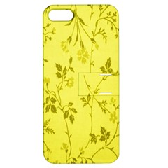 Flowery Yellow Fabric Apple Iphone 5 Hardshell Case With Stand