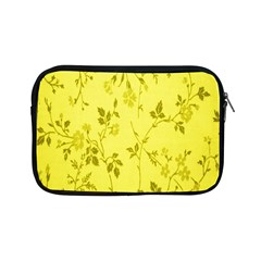 Flowery Yellow Fabric Apple Ipad Mini Zipper Cases by Nexatart