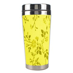 Flowery Yellow Fabric Stainless Steel Travel Tumblers by Nexatart