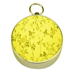 Flowery Yellow Fabric Gold Compasses