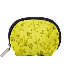 Flowery Yellow Fabric Accessory Pouches (small)  by Nexatart