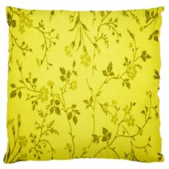 Flowery Yellow Fabric Standard Flano Cushion Case (two Sides) by Nexatart