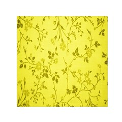 Flowery Yellow Fabric Small Satin Scarf (square) by Nexatart