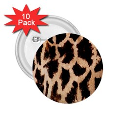 Giraffe Texture Yellow And Brown Spots On Giraffe Skin 2 25  Buttons (10 Pack)