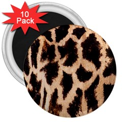 Giraffe Texture Yellow And Brown Spots On Giraffe Skin 3  Magnets (10 Pack)  by Nexatart