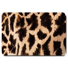 Giraffe Texture Yellow And Brown Spots On Giraffe Skin Large Doormat  by Nexatart