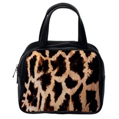 Giraffe Texture Yellow And Brown Spots On Giraffe Skin Classic Handbags (one Side)