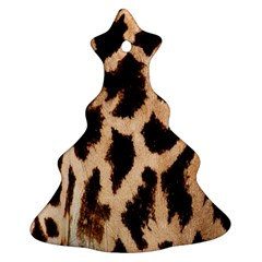 Giraffe Texture Yellow And Brown Spots On Giraffe Skin Christmas Tree Ornament (two Sides)