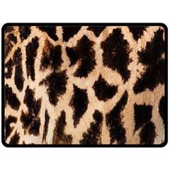 Giraffe Texture Yellow And Brown Spots On Giraffe Skin Double Sided Fleece Blanket (large)