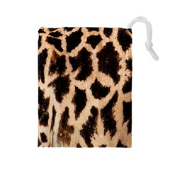 Giraffe Texture Yellow And Brown Spots On Giraffe Skin Drawstring Pouches (large)