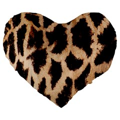 Giraffe Texture Yellow And Brown Spots On Giraffe Skin Large 19  Premium Flano Heart Shape Cushions by Nexatart