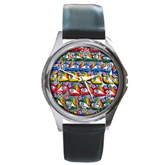The Eye Of Osiris As Seen On Mediterranean Fishing Boats For Good Luck Round Metal Watch