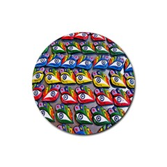 The Eye Of Osiris As Seen On Mediterranean Fishing Boats For Good Luck Rubber Round Coaster (4 Pack)