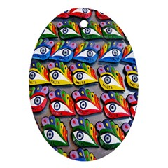 The Eye Of Osiris As Seen On Mediterranean Fishing Boats For Good Luck Oval Ornament (two Sides) by Nexatart