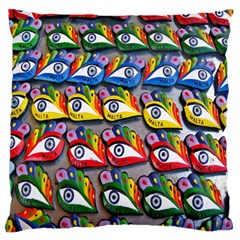 The Eye Of Osiris As Seen On Mediterranean Fishing Boats For Good Luck Large Cushion Case (two Sides) by Nexatart
