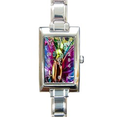 Magic Butterfly Art In Glass Rectangle Italian Charm Watch
