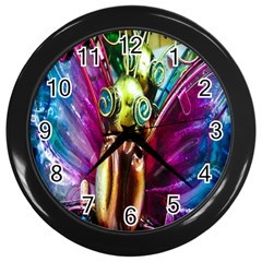 Magic Butterfly Art In Glass Wall Clocks (black) by Nexatart