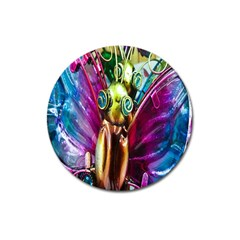 Magic Butterfly Art In Glass Magnet 3  (round) by Nexatart