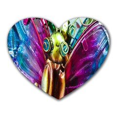 Magic Butterfly Art In Glass Heart Mousepads by Nexatart