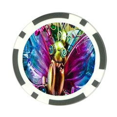 Magic Butterfly Art In Glass Poker Chip Card Guard