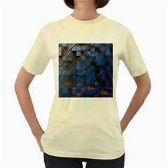 Glass Abstract Art Pattern Women s Yellow T Shirt
