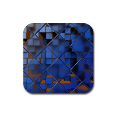 Glass Abstract Art Pattern Rubber Square Coaster (4 Pack)  by Nexatart