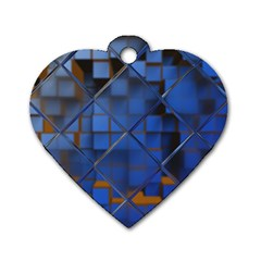 Glass Abstract Art Pattern Dog Tag Heart (two Sides) by Nexatart