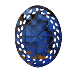 Glass Abstract Art Pattern Oval Filigree Ornament (two Sides)