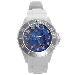 Glass Abstract Art Pattern Round Plastic Sport Watch (l)
