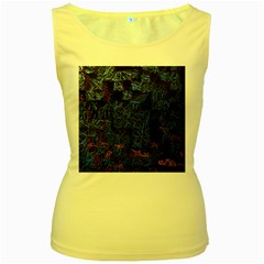 Background Abstract Art Pattern Women s Yellow Tank Top