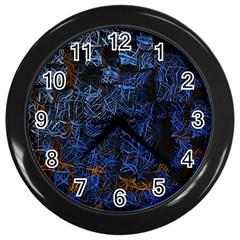 Background Abstract Art Pattern Wall Clocks (black)