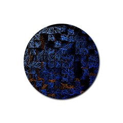 Background Abstract Art Pattern Rubber Round Coaster (4 Pack)