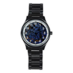 Background Abstract Art Pattern Stainless Steel Round Watch
