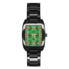 Geometric Seamless Pattern Digital Computer Graphic Stainless Steel Barrel Watch