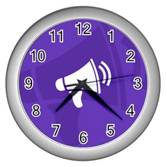 Announce Sing White Blue Wall Clocks (silver)  by Mariart