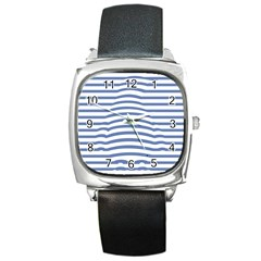 Animals Illusion Penguin Line Blue White Square Metal Watch by Mariart